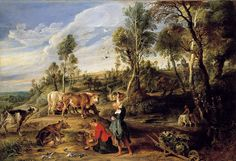 Peter Paul Rubens. Landscape with Milkmaids and Cattle, 1618