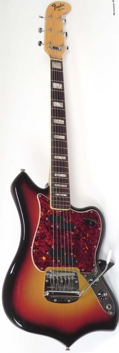 1969 Fender Custom 6 string that was made using up leftover Electric XII parts and a Mustang Tremolo --- https://www.pinterest.com/lardyfatboy/