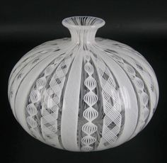 Murano Glas Vase Zanfirico Latticino Handarbeit Label venetian Glass RARE 10,5cm