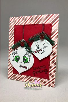 Donna's card using Nested Ornaments Bulb, Holiday Mason Jar and Peachy Keen Face Stamps