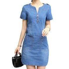 2016 Denim Dress Women Plus Size Short Sleeve Blue Denim Jeans Dresses For Women Ladies V Neck Brand Casual Party Dress Denim Shirt Dress, Blouse Dress, Denim Outfit, Denim Jeans, Casual Dresses, Casual Outfits, Fashion Outfits, Summer Dresses, Simple Outfits