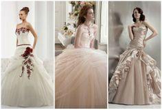 Che sia un colore strong o pastello,l'abito da sposa colorato è sempre di grande eleganza. Da sinistra Jolies 2013 by Nicole Spose, Pre Collezione 2013 Atelier Aimèe Montenapoleone, Miss Defne 2013.