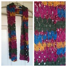 Multicolor crochet scarf, only $15 plus free shipping! Buy now at my Etsy shop!  https://www.etsy.com/listing/199235838/crochet-scarf