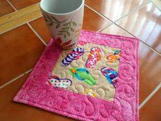 Flip Flops Pink Mug Rug or Candle Mat Oversized by QuiltingDiva