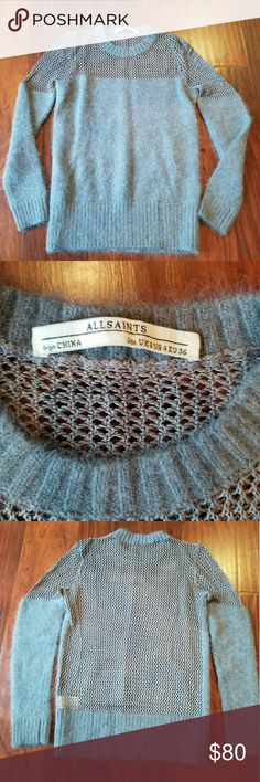 All Saints Minako Mesh Jumper In excellent condition  Grey All Saints Minako Mesh Jumper Sweater 46% angora 34% viscose 20% nylon All Saints Sweaters Crew & Scoop Necks