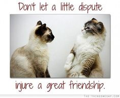 Don't let a little dispute injure a great friendship