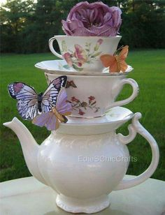 Items similar to Alice in Wonderland Inspired Stacked Teacup Centerpiece (Floral Patterns) - Mad Hatter Tea Party, Wedding, Shower, Sweet Birthday on Etsy Teacup Crafts, Tea Party Decorations, Alice In Wonderland Tea Party, Butterfly Party, Deco Floral, Tea Party Birthday, Mad Hatter Tea, Mad Hatters, Tea Pots
