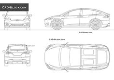 tesla model x in plan view rear view side and front view this premium cad file was saved in autocad 2000 format