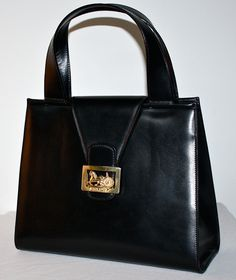 celine black patent leather handbag