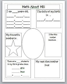 Third Grade Thinkers: Week One....DONE!- Math About Me!