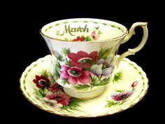 """Vintage Royal Albert Bone China Tea Cup and Saucer """"March"""" Anemone Flower of the Month Series, via Etsy."""