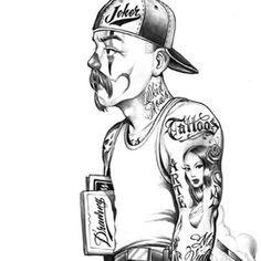 sureno poems love graphics and comments Chicano Art Tattoos, Chicano Drawings, Angel Back Tattoo, Joker Brand, Wolf Paw Print, Cholo Art, Clown Tattoo, Cholo Style, Latino Art