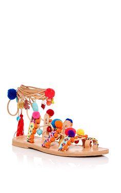 My Style… Pom Pom Gladiator Wrap Sandals by ELINA LINARDAKI Now Available on Moda Operandi