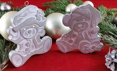 Weihnachtsdeko - Beton, Steinguss Anhänger Santa-Bären - ein Designerstück von Beton-in-Bunt bei DaWanda