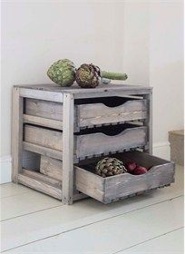 Garden Trading Pine Vegetable Storage Unit with 3 Drawer Store your home grown fruit and vegetables in this rustic three drawer pine store that fits neatly onto a kitchen worktop or in your larder. Crafted from Spruce. 3 Drawer Storage Unit, Kitchen Storage Units, Kitchen Drawer Organization, Kitchen Drawers, Wood Storage, Diy Storage, Storage Ideas, Storage Solutions, Drawer Ideas