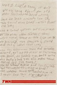 Manuscript of Man on the Street. Street Bob, Men Street, Bd Cool, World Of Books, Bob Dylan, Sheet Music, Highlights, Knowledge, Letters