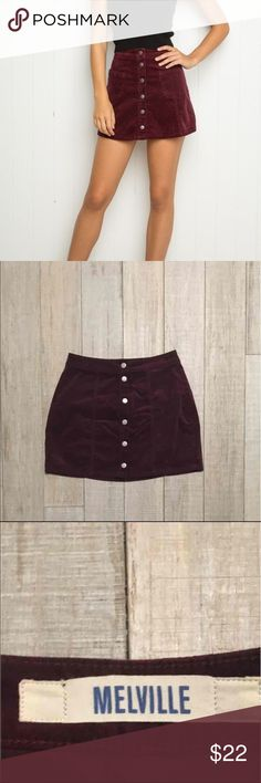 brandy melville button up burgundy skirt velour texture, new without tags , fits size small/medium Brandy Melville Skirts Mini