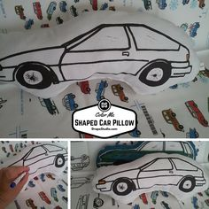 Birthday Party Activity Set Color Me Fabric Car Shaped Pillow   DrapeStudio fabric, drapes, valance, pillows, bedding, baby, gift