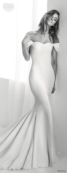 atelier pronovias 2018 bridal off the shoulder semi sweetheart neckline simple clean elegant fit and flare wedding dress chapel train (11) mv -- Atelier Pronovias 2018 Wedding Dresses