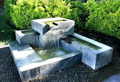 fountains and water features modern garden fountains water features Contemporary Outdoor Fountains, Contemporary Water Feature, Diy Water Feature, Backyard Water Feature, Contemporary Garden, Concrete Fountains, Garden Water Fountains, Concrete Garden, Concrete Bowl