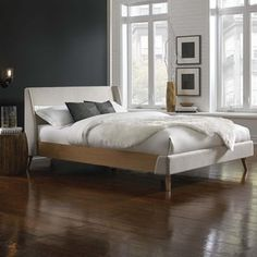 Top Product Reviews for Palmer Complete Platform Bed with Upholstered Exterior and Light Oak Wooden Side Rails - Overstock.com - Mobile