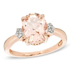 right hand ring Oval Morganite and Diamond Accent Ring in 14K Rose Gold - Size 7