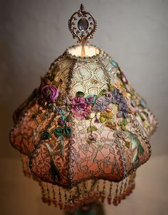 Top view of renovated Victorian Lampshade by    http://www.nightshades.com