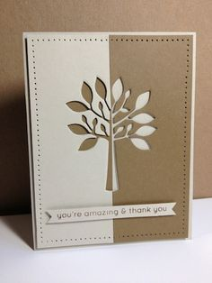 By lisaadd at Splitcoaststampers. Used tree die to make a split silhouette, using opposite colors underneath the die cut panel. Pierced all around the panel & popped it up on card. Striking!