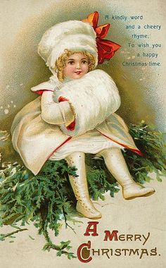 A kindly word and a cheery rhyme, to wish you a happy Christmas time. #vintage #Christmas #cards