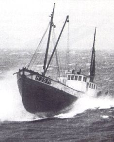 Fishing trawler in North Sea storm headed for the Shetland Islands. The fisherman and their boats made the crossings from Norway during the winter under the cover of darkness. This meant that the crews and passengers had to endure very heavy North Sea conditions, with no lights, and the constant risk of discovery by German aircraft or patrol boats.