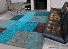 10. Trendy vloerkleed blauw / turquoise 170 x 240 cm € 499,-