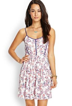 Love 21 - A floral printed woven cami dress featuring a pleated front and cutout back detail. . Ad...