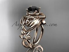14kt rose gold diamond celtic trinity knot wedding ring, engagement ring with a Black Diamond center stone CT7501