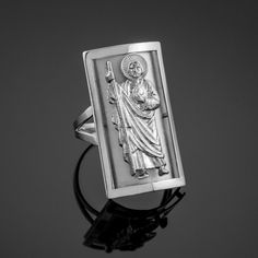 The halo and robe of this saint is wonderfully detailed. Actual Images of item are shown above. White Gold Rings, Silver Rings, Saint Jude, Women's Earrings, Diamond Engagement Rings, Solid Gold, Jewelry Design, Rings For Men, Fancy