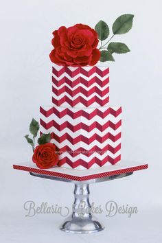 Red chevron wedding cake with big rose