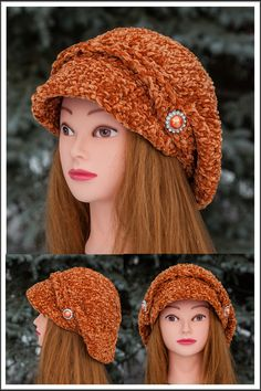 Orange Poor Boy Hat Chenille Chenille Poor Boy Hat looks amazing on. This hat fits extremely well to most of ladies and it is very easy to wear. Machine wash under delicate cycle and flat dry. This hat is great for all age groups and styles. Staying warm was never this fashionable. * popular design * one size fits all * trendy and luxurious * chenille - velvet feel *  Hand Knitted Knitted Hats, Crochet Hats, Stay Warm, One Size Fits All, Scarfs, Hand Knitting, Delicate, Velvet, Age