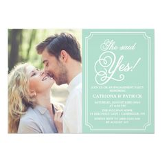 """Mint and White Whimsical Engagement Party Invitation 5"""" X 7"""" Invitation Card"""