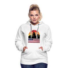 New York City Landscape Sunset - Womens Premium Hoodie | American Flag Apparel City Landscape, Hoodies, Sweatshirts, Warm And Cozy, American Flag, New York City, Sunset, Women, Fashion
