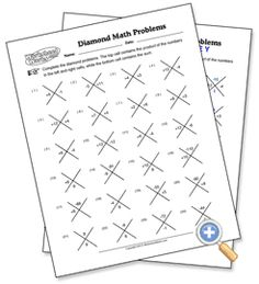 Diamond Problems - WorksheetWorks.com - AWESOME for factoring polynomials using the diamond method!