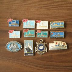 Vintage Nautical Pins, Navy and Aqua, Antique Vessels, Nautical Badges, Ships and Boats Pins, Antique Boats https://www.etsy.com/shop/MyBootSale