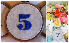 Stitched table numbers on embroidery hoops - think I can get my sister to do this in a cross-stitch. Hallowen Ideas, Christmas Nativity Scene, Wedding Decorations, Wedding Ideas, Baptism Decorations, Wedding Inspiration, Wedding Centerpieces, Wedding Stuff, Wedding Planning