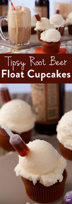 Rethink the classic Root Beer Float with this Tipsy Root Beer Float Cupcake project. With all the flavors of the drink you know and love, this cool cupcake idea also combines a tiny shot of spiked Root Beer. These tasty cupcakes make for a great bachelor party idea or would be a fun summertime treat at an upcoming family picnic. You can easily fill the Shot Top bottles with regular root beer so those who don't drink can have fun as well.
