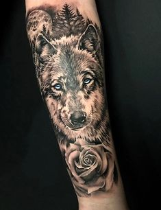 Out of all animal tattoos, the wolf is the most popular due to its rich symbolic meaning. Typically, a wolf pack is led by the alpha wolf, Wolf Tattoos For Women, Sleeve Tattoos For Women, Tattoo Sleeve Designs, Tattoo Designs Men, Tattoos For Guys, Cool Tattoos, Small Tattoos, Back Tattoo Men, Wolf Tattoo Design