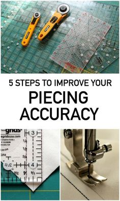Quilting instructor Amy Gibson shares 5 basic steps you can take to help improve your quilt piecing accuracy. Quilting Tutorials, Quilting Designs, Diy Quilting, Quilting Ideas, Quilting Rulers, Quilting Blogs, Quilting Projects, Quilting For Beginners, Sewing Projects