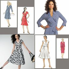 Lovely Very Easy Vogue Wrap Dresses Sewing Pattern Misses Size You Choose | eBay  Even in a different pattern, that black and white fabric looks fun.