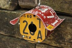 license plate craft projects | License Plate Birdhouse by StressTheSeams
