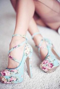floral strappy heels