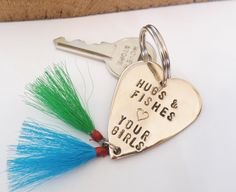 Daddy Gift for Christmas Father Daughter Fishing Lure Keyring Dad Hugs and Fishes Love you Da Da Keychain for Men Birthday Dad of Girls Twin by CandTCustomLures on Etsy https://www.etsy.com/listing/209674197/daddy-gift-for-christmas-father-daughter