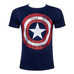 Marvel Comics Captain America Distressed Shield T Shirt (Navy)