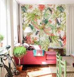 Colorful tropical wallpaper freshens this space  - Add a Touch of the Tropics to Your Home for Summer